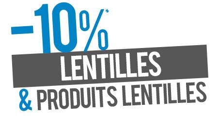 10% de remise sur les lentilles et produits lentilles