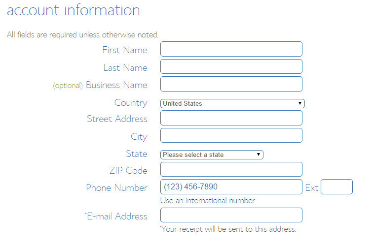 Enter Your Account Information to Create Your Account with BlueHost