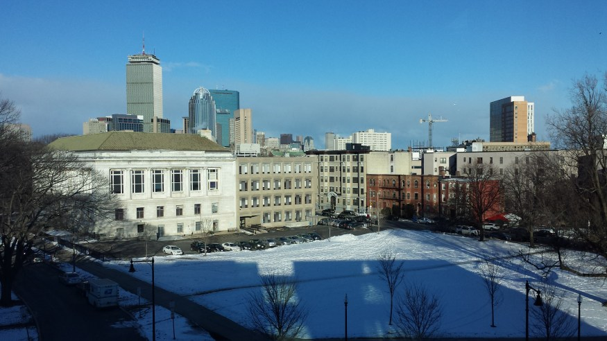 Snowy but beautiful view of Boston.