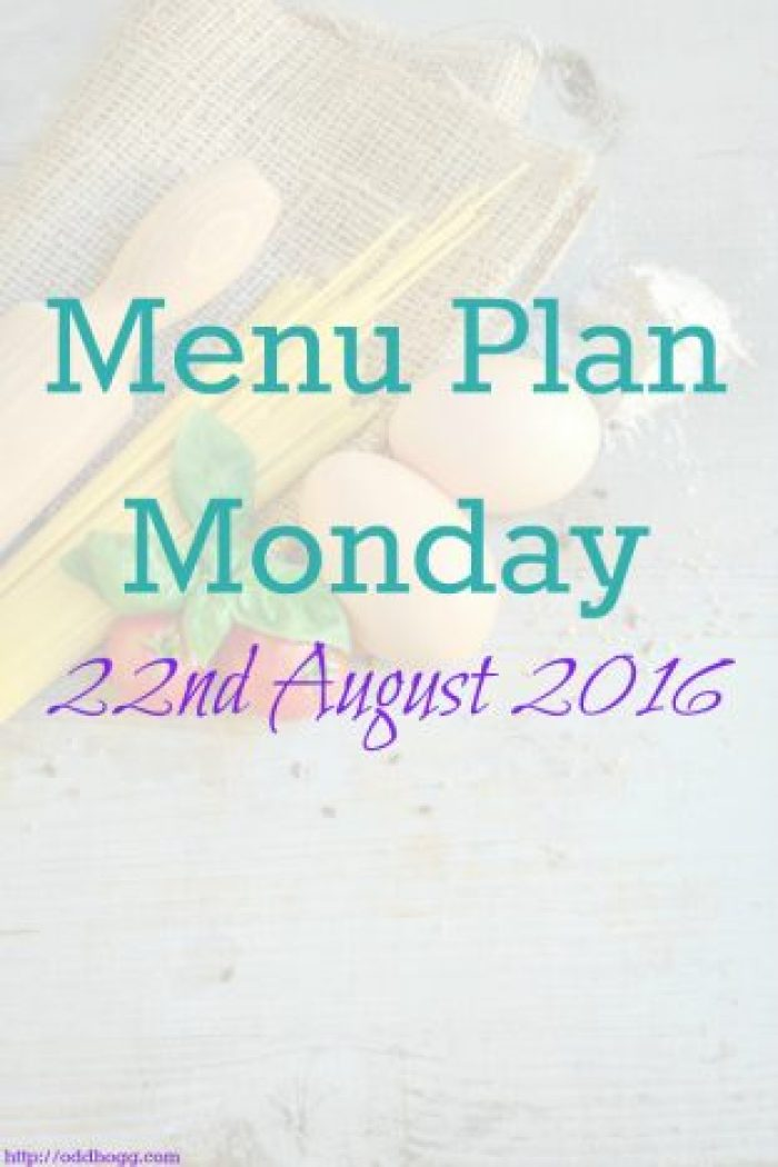 Menu Plan Monday 22aug16