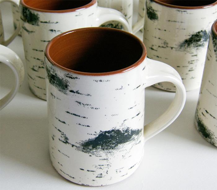 Birch Bark Coffee Mug Looks Like a Birch Tree
