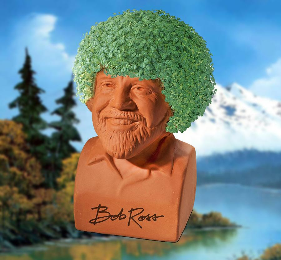 painting ideas for kitchen tool bob ross chia pet lets you grow a happy little bush on ...