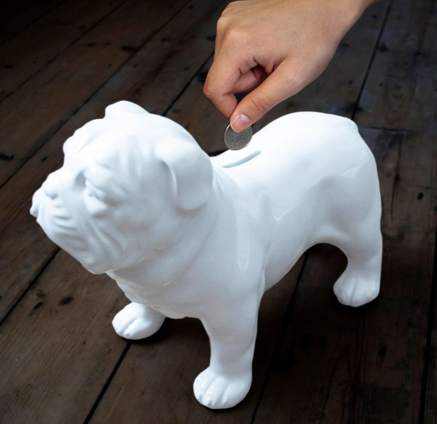 Ceramic Bulldog Coin Bank