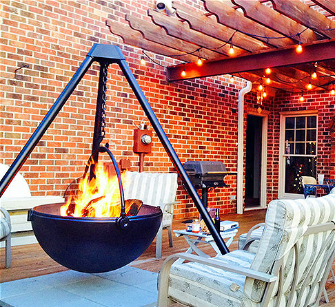 cool kitchen stuff dining room tables cowboy cauldron: a hanging tripod fire pit & bbq (probably ...