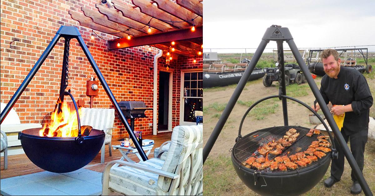 Cowboy Cauldron A Hanging Tripod Fire Pit Amp Bbq Probably