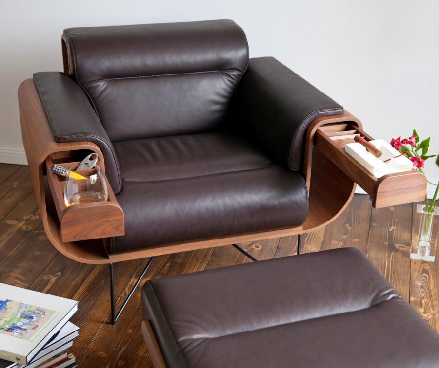 leather chair ottoman black outdoor rocking canada el purista smoking arm with slide out storage pockets