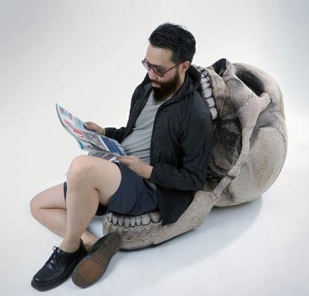 Giant Human Skull Chair With Movable Jaw