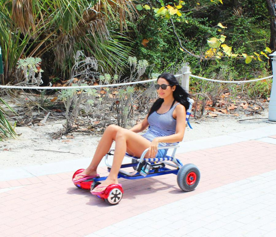 folding chair with wheels gliding slipcover hoverseat lets you attach a to your hoverboard