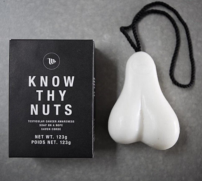 Know Thy Nuts A Scrotum Shaped Bar of Soap On a Rope