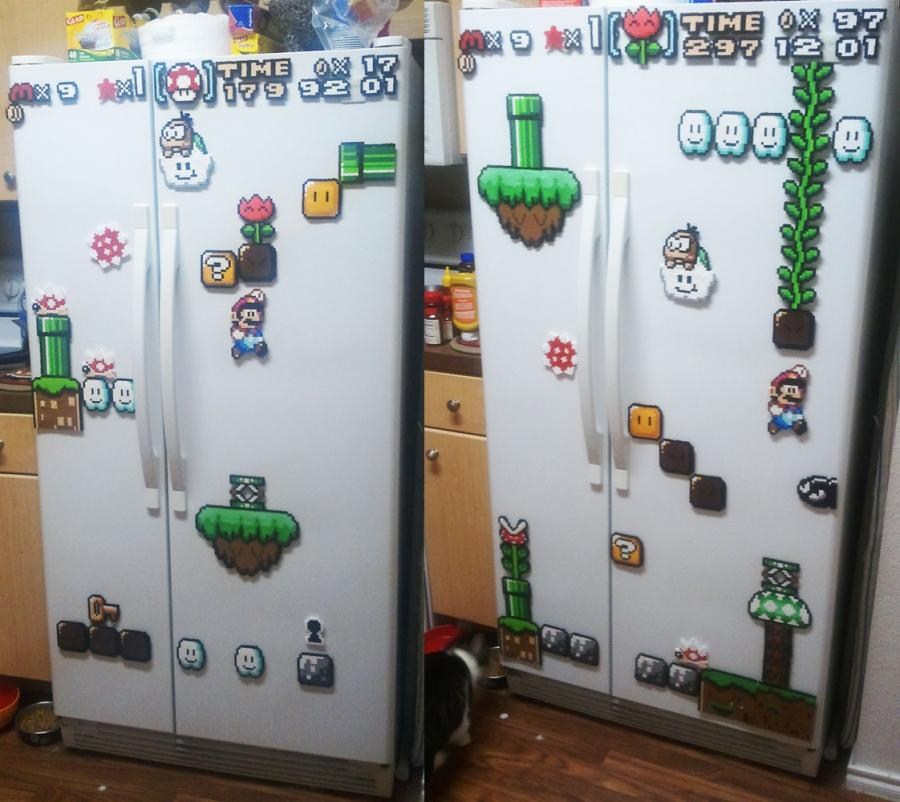 kitchen magnets cork flooring mario refrigerator let your nostalgia run wild when you walk into the each morning take a look at fridge are set