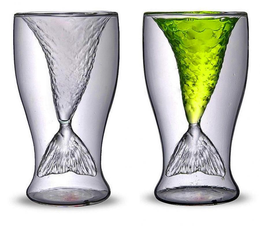 Mermaid Tail Cocktail Glasses  Set of 2