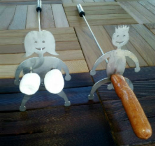 Naughty Hot Dog  Marshmallow Cooking Sticks