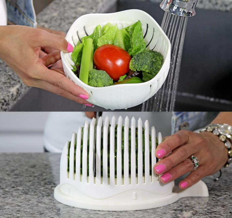 3in1 Salad Chopper Lets You Rinse Chop and Serve