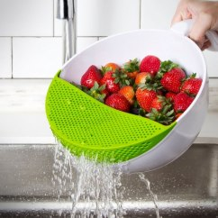 Kitchen Sink Strainer Built In Seating Soak And Strain Food Washing Bowl