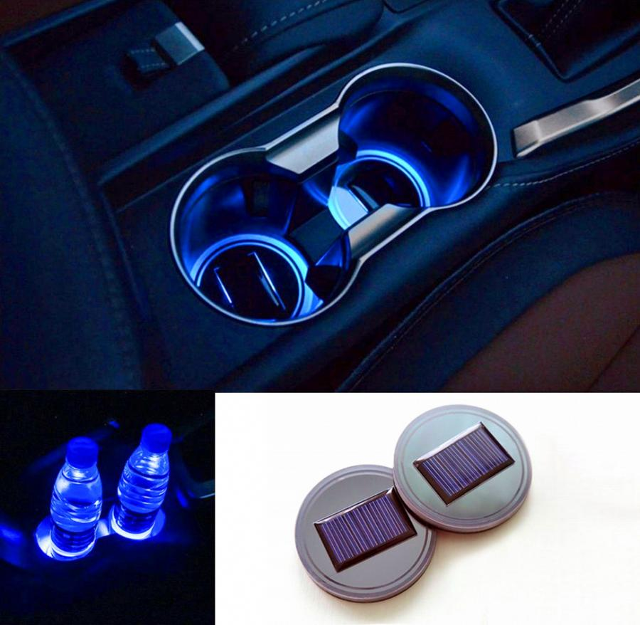 Solar Powered LED Car Cup Holder Lights 2Pack