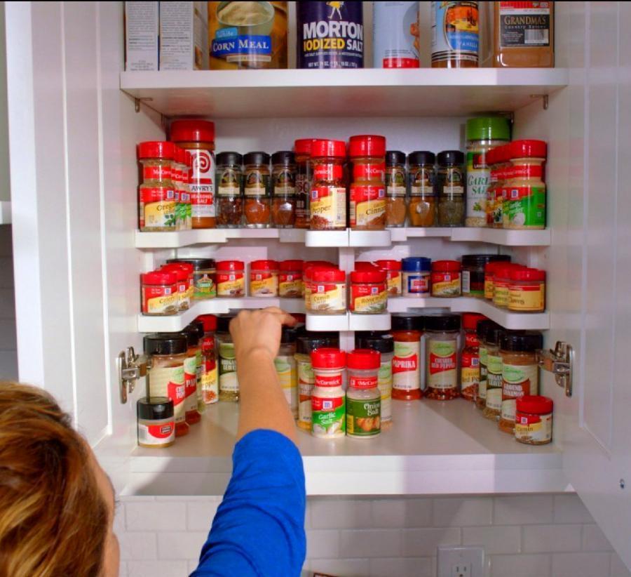 amazon kitchen cabinets soapstone counters spicy shelf helps organize spice cabinets, medicine ...