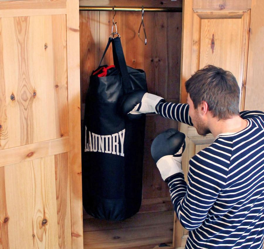 This Punching Bag Is Actually a Laundry Bag Filled With