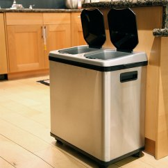 Stainless Steel Kitchen Trash Cans Front Travel Trailer Touchless Garbage And Recycling Combo