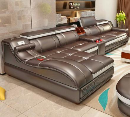 Ultimate Couch Giant Leather Sectional With Integrated