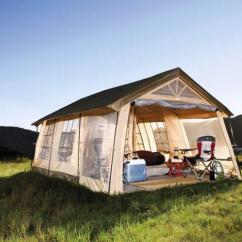 Northwest Territory Chairs Folding Chair Bed Giant House Shaped Tent With A Front Porch - Fits 10 People
