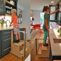 Kitchen Step Kidskraft Folding Stool Pulls Out From Cabinet Hideaway Solutions Hidden Stairs