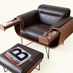 Chair Design Buy Orange Ghost El Purista Leather Smoking Arm With Slide Out Storage Pockets
