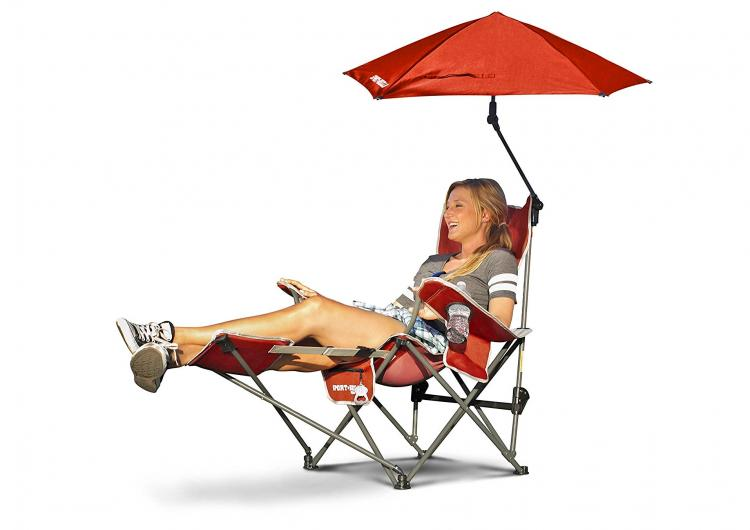 SportBrella Reclining Camping Chair With Attached Umbrella