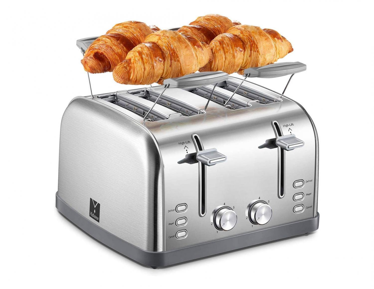 a toaster with a warming rack