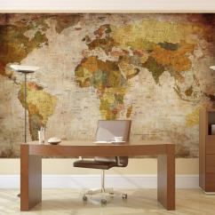 Kitchen Wallpaper Ideas Brushed Nickel Faucet Vintage World Map Wall Mural
