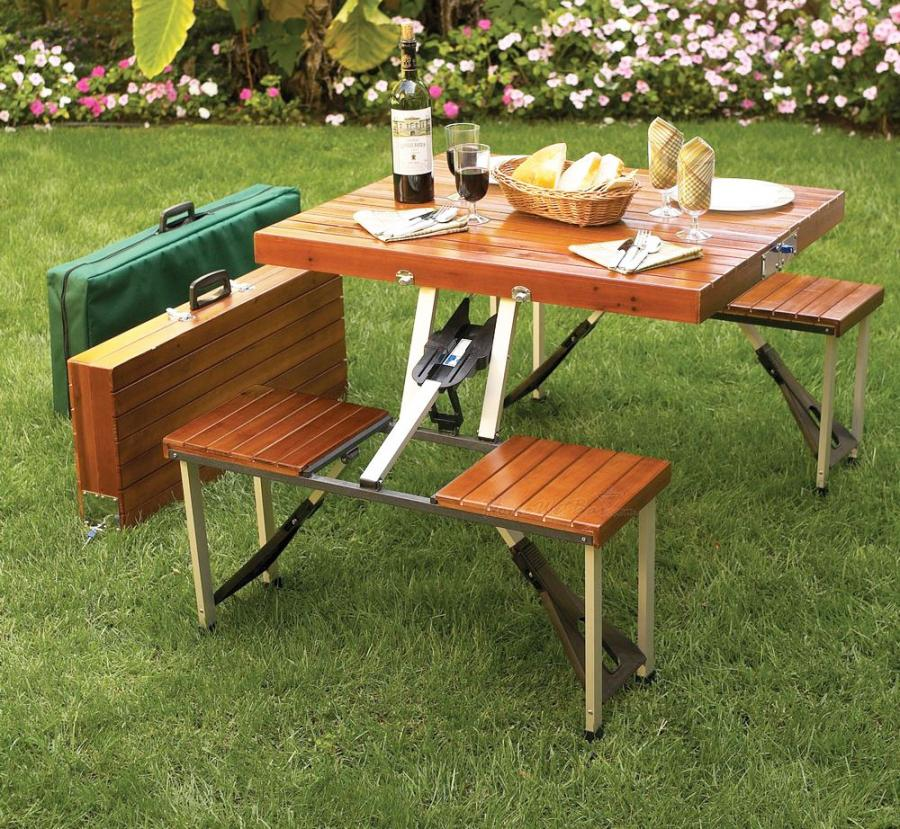 This Wooden Picnic Table Folds Down To A Briefcase For