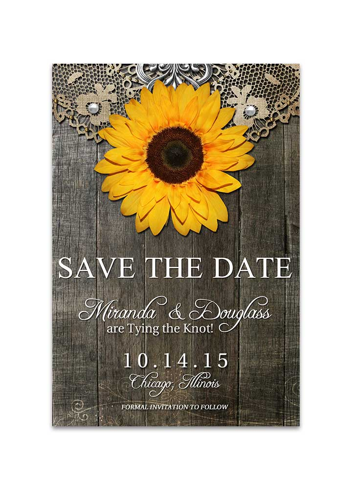 Rustic Sunflower With Doily Save The Date Card Odd Lot