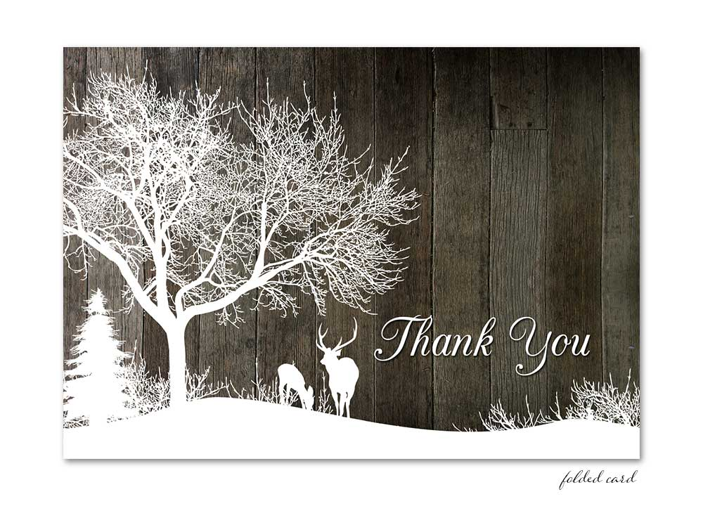 Winter Deer Folded Thank You Card Gray Wood Odd Lot