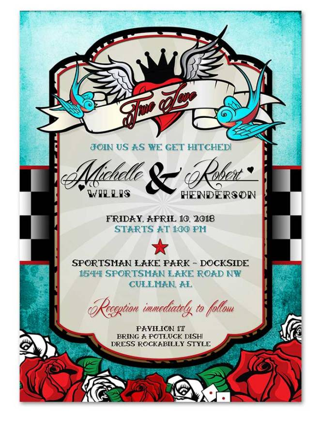 Rockabilly Wedding Invitation Blue