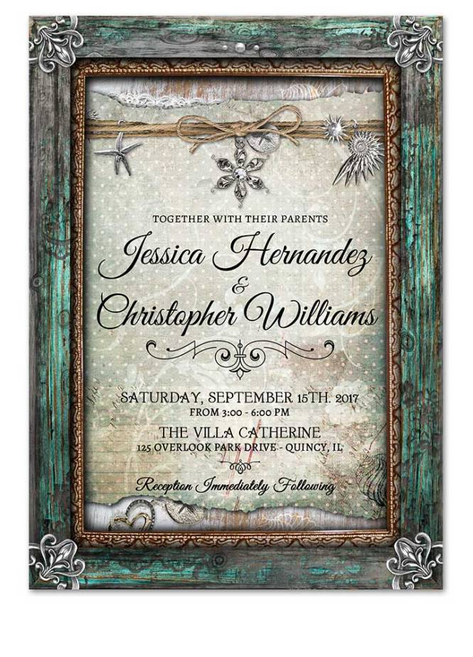 Digital Rustic Beach Wedding Invitations
