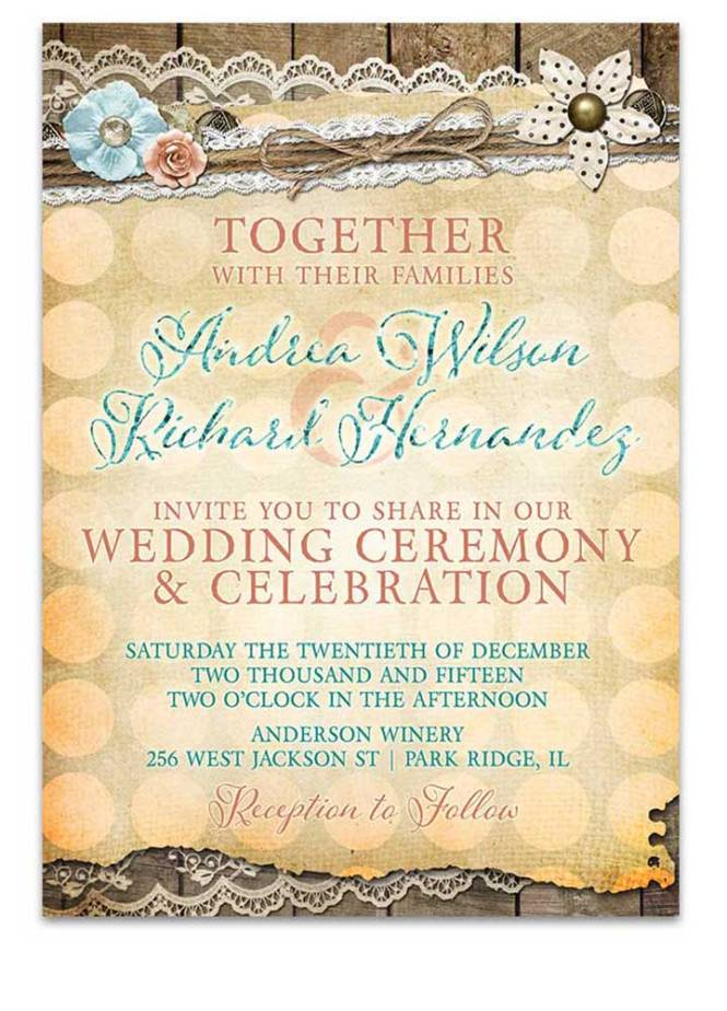 Polka Dot Shabby Chic Wedding Invitation