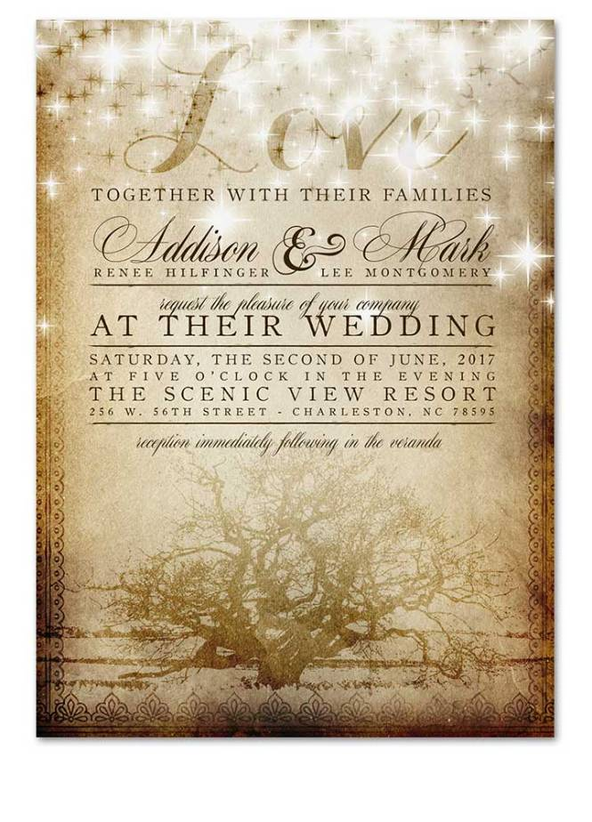 Digital Fairy Light Vintage Tree Wedding Invitation
