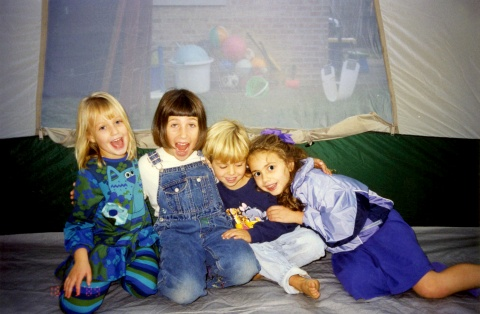Cole, Abby, Lucy, Andrea tent