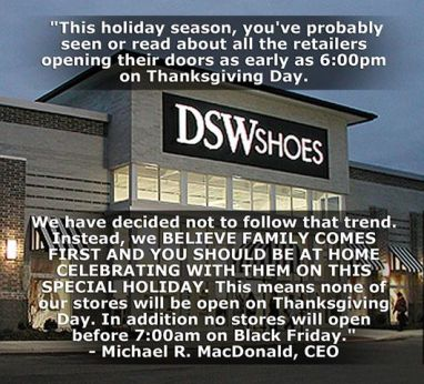 DSW Shoes Closed Thanksgiving