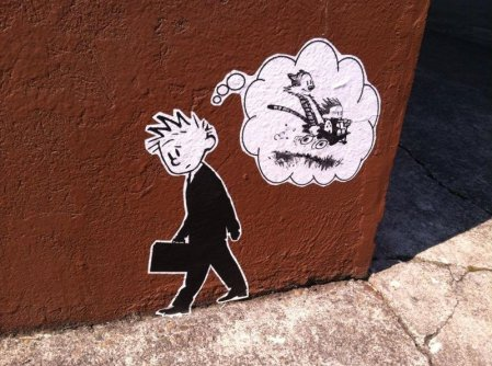 Cliché Day, Domestic Goddess Day, Sandwich Day, calvin-and-hobbes-street-art-in-portland-calvin-in-suit-dreaming-of-childhood