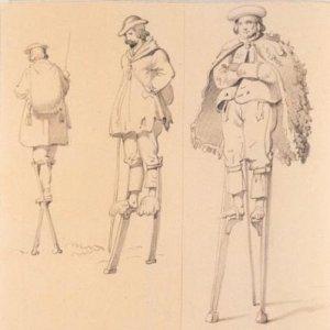 Scotch Day, Stilts Day, Crème Brûlée Day,  Landes. Bergers des Landes mont--s sur des --chasses .. Claude-F--lix-Th--odore d'Aligny before 1871 BNF