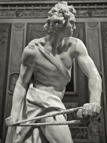 David is a life-size marble sculpture, one of many commissions to decorate the villa of Bernini's patron Cardinal Scipione Borghese. It was completed in the course of seven months from 1623 to 1624.