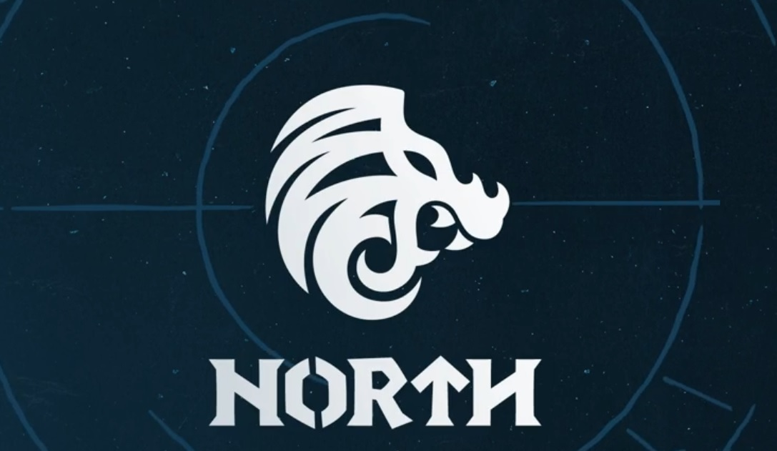 North logo with Nordic stylized lion head insignia and rune-like type face