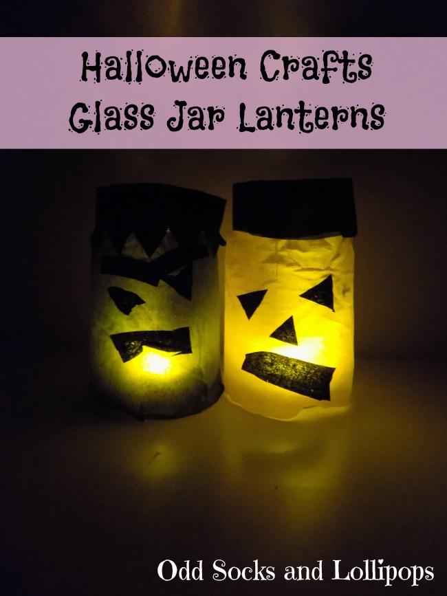 Halloween Crafts Glass Jar Lanterns - keeping in the Halloween spirit Boo and I made glass jar lanterns