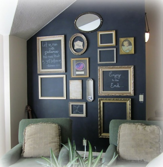 13 examples to decorate home with the help of empty picture frames