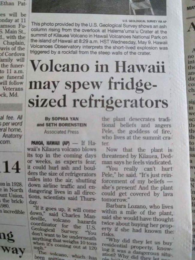 Hawaii volcano spew fridges