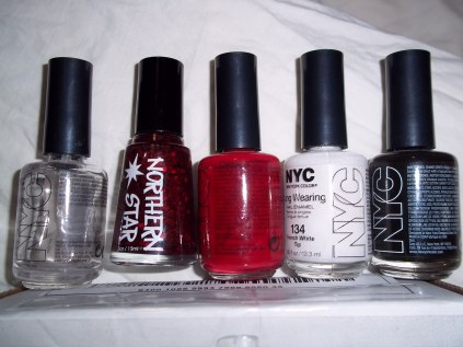 NYC: Clear Coat, Big Apple Red, French White Tip, Black Lace Creme and Northern Star Ligeia
