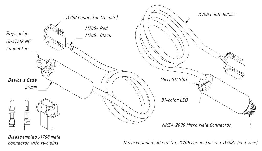Yacht Devices Motordata-gateway, J1708 till NMEA 2000