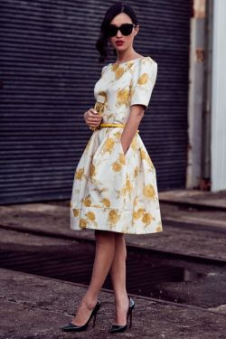 white floral dress with pockets