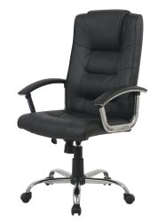 Black Desk Chair Berlin Business Leather Faced Swivel Executive Computer