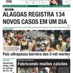 Alagoas registra 134 novos casos em um dia